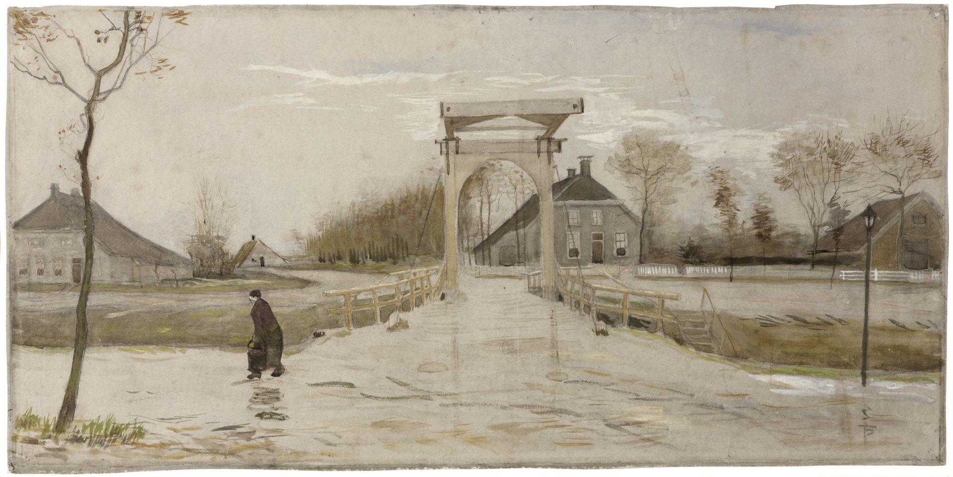 Vanuit zijn kamer in de herberg in Nieuw-Amsterdam kon Van Gogh de ophaalbrug zien.
